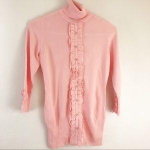 Bebe turtleneck Ligth Pink Button down Sweater M